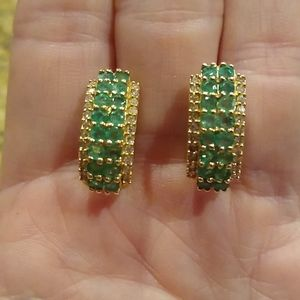Emerald and diamond earrings 14kt yellow gold